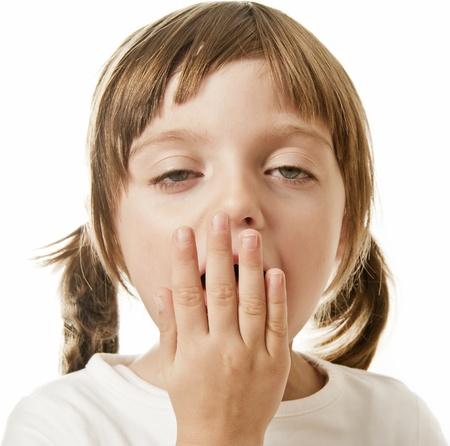 bostezando niña Foto de archivo