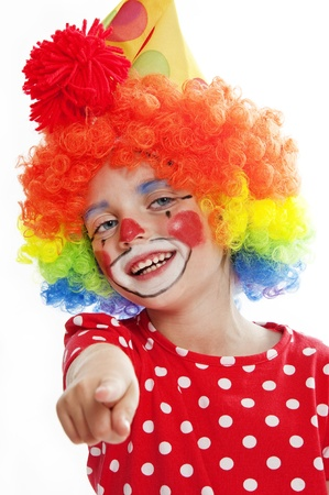 little clown pointing on you Stock Photo - 18314714