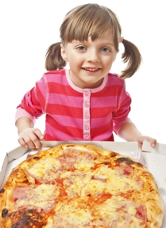 happy little girl with pizza in a paper box photo