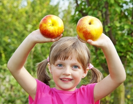 little girl with two apples in the garden photo