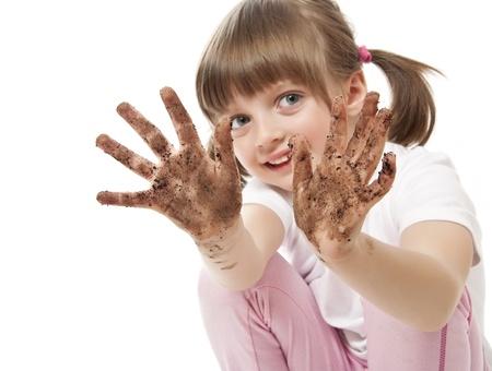 ni�os enfermos: mano sucia - concepto de higiene