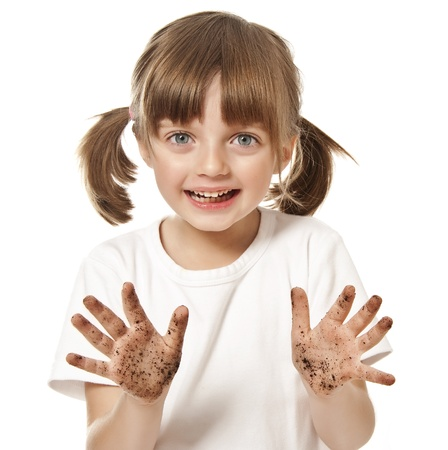 little girl with dirty hand - hygiene concept