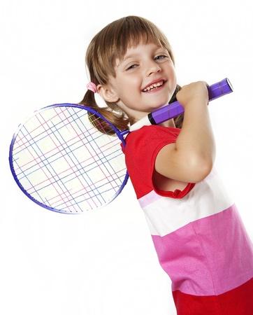 tennis racket: little girl holding a tennis racket - white background Stock Photo