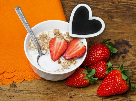 healthy breakfast - cereal with fruit photo