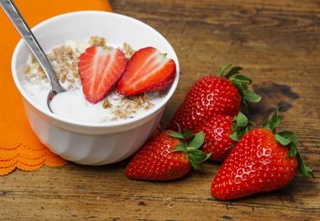 healthy breakfast porridge with fresh strawberry  photo