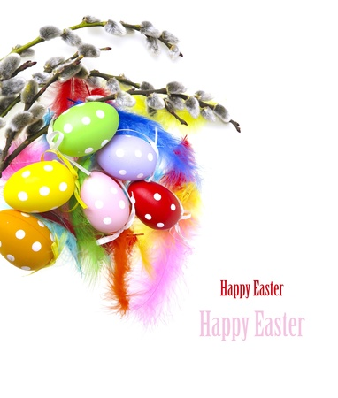 Happy Easter still life on white background photo