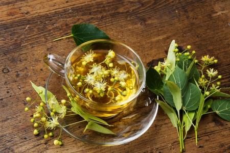 linden tea on a wooden table photo