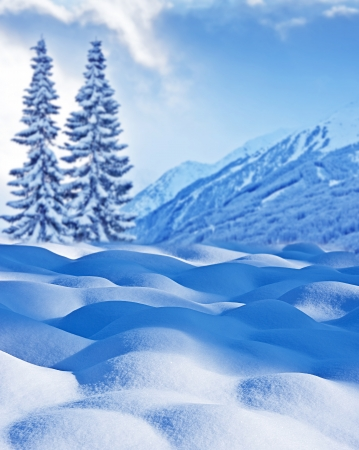 snow flakes: winter background with mountain landscape