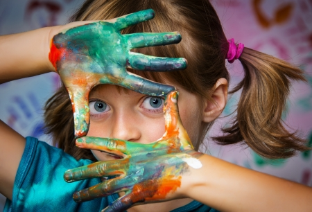 little girl and colors - portrait Stock Photo - 21733329