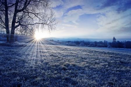 winter ochtend met zonsopgang Stockfoto