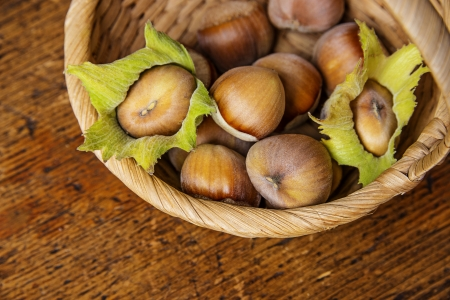 hazelnuts on a basket photo