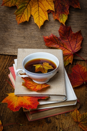 autumn still life with a cup of tea photo