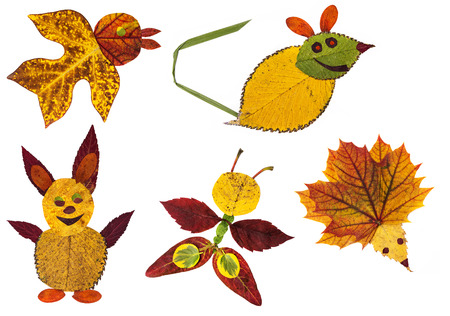 animals made from the autumn leaves - collection photo