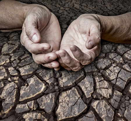 old elderly hands and dry earth photo