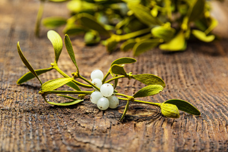 mistletoe branch on a wooden table  Banque d'images