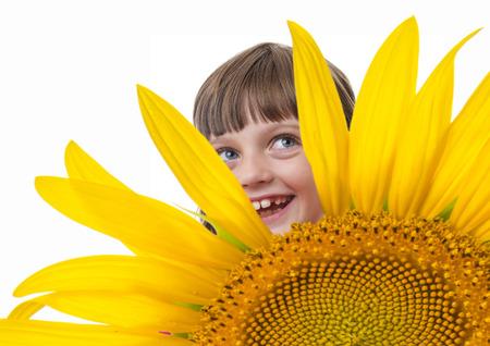 gir: happly little gir and a sunflower Stock Photo