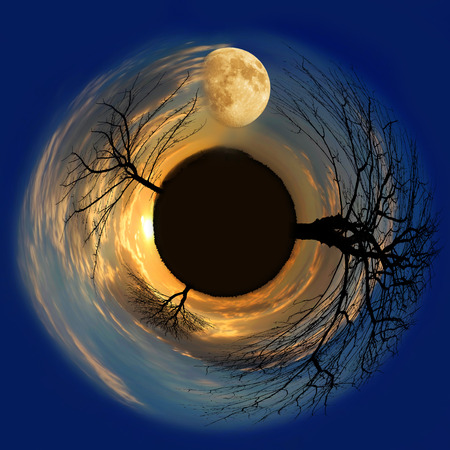 little planet with moon and a sun photo
