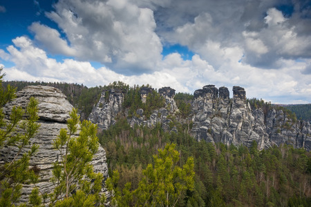 view from the Bastei , Saxon Switzerland, Germany photo
