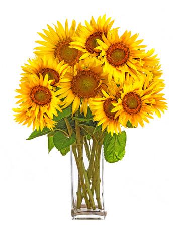 bouquet fleurs: un gros bouquet de tournesols dans un vase