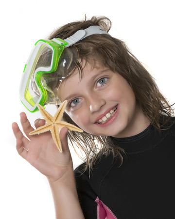 neoprene: little girl with swim glasses and neoprene