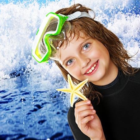 scuba diver: little girl - scuba diver Stock Photo