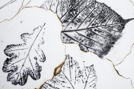macro: artistic image - imprints of leaves - Graphics - monotype Stock Photo