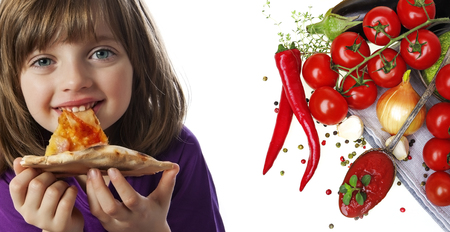 little girl eating: a little girl eating a pizza on a white background