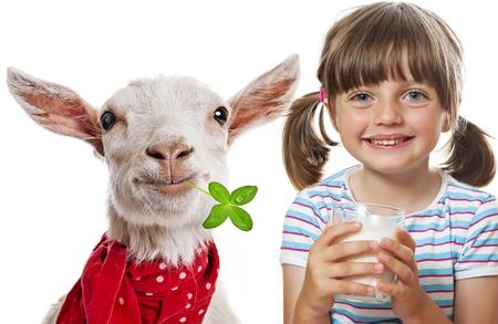 little girl drinking goat milk
