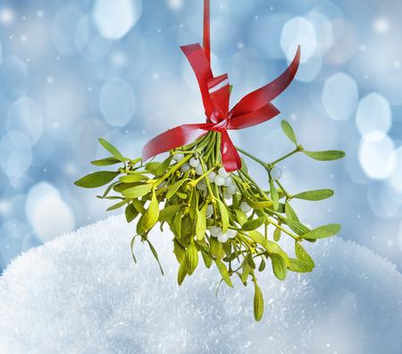 snow background and mistletoe
