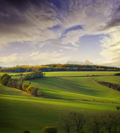 autumnal landscape - Europe, Czech Republic , Moravia, Kyjov Stock Photo