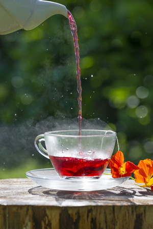 cup of fruity tea Stock Photo
