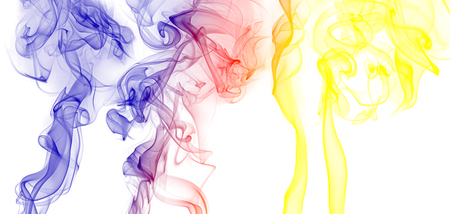 colored smoke on a white background Stock Photo