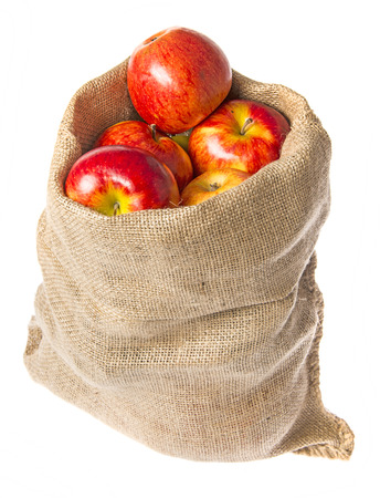 a sack with apples isolated on a white background