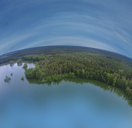 pond and blue sky - aerial view