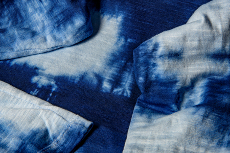 home made cotton fabric batiked with indigo - close up