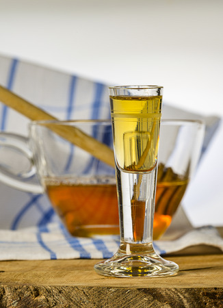 homemade mead (honey wine) on an old table close up Reklamní fotografie