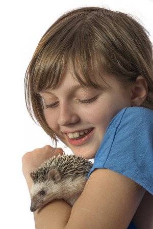 a happy litle girl with her pet African pygmy hedgehog 写真素材