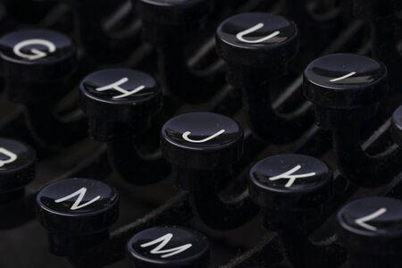 old retro typing machine in the detail - vintage typewriter machine Stock Photo