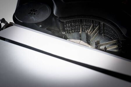 old retro typing machine in the detail - vintage typewriter machine
