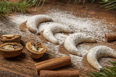 sweet christmas cookies on old wooden table 写真素材