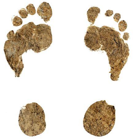 ślady stóp, ślady stóp na białym tle