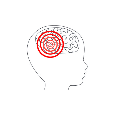 Silhouette of a childs head with a brain. The red target indicates the localization of the epileptic focus or headache. Illustration