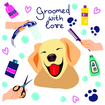 vector illustration of cute dogs in the bath with foam and shampoos and handwritten phrase Groomed with love Ilustração