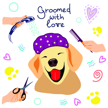 vector illustration of cute dogs in the bath with foam and shampoos and handwritten phrase Groomed with love Illusztráció