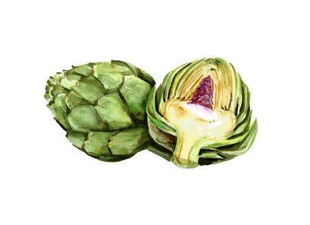 Watercolor artichoke. Health vegetarian food