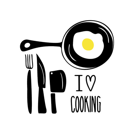 Cooking hand drawn vector illustration. I love cooking lettering.Frying pan with fried eggs, fork and knives. Cooking concept