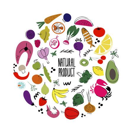 Ilustración de vector dibujado a mano de cocina. Rotulación de productos naturales Verduras, bayas, frutas y mariscos. elementos de diseño de utensilios de cocina. Textil de cocina Bocetos de utensilios de cocina