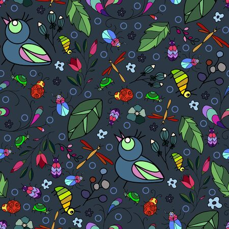 Awesome vector seamless pattern with beetles and birds