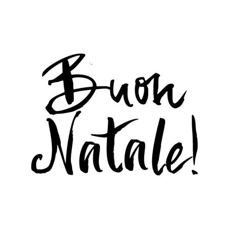 Buon Natale! drawn ink lettering. Traditional Christmas greeting in Italian. Phrase design element for poster, banner and greeting card. Vector illustration  イラスト・ベクター素材