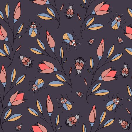 Awesome vector seamless pattern with beetles and flowers Ilustração